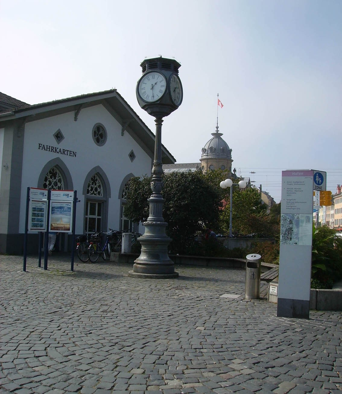 Historic clock at the port of Constance