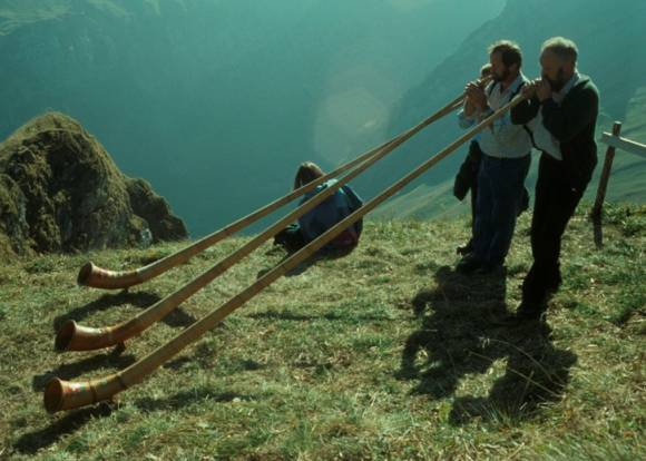 Alphorn blowers in Appenzell